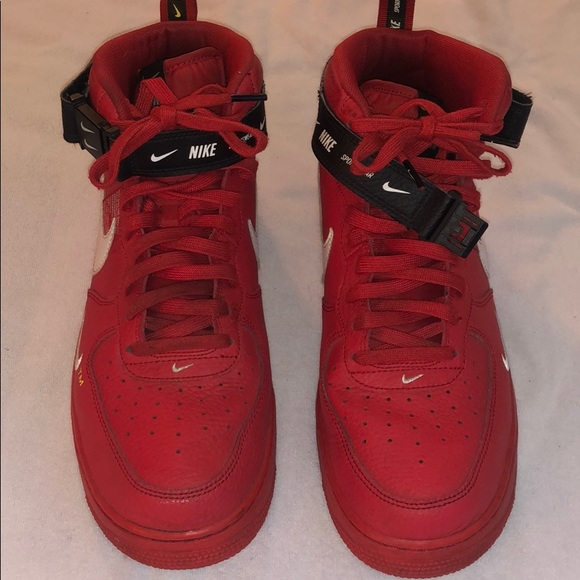Nike Air Force 1 Mid Utility University Red Sz 12